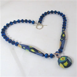 Handcrafted Royal Blue Exotic Bead Necklace Polymer Clap