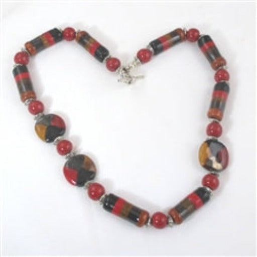 Buy Red, Black & Tan handcrafted Kazuri necklace in handmade fair trade beads unique design