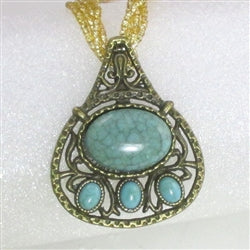 Buy Big antique gold & turquoise pendant on a gold multi-strand necklace Affordable