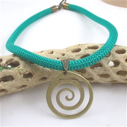 Spring Green Cotton Climbing Cord Necklace with Antique Brass Pendant