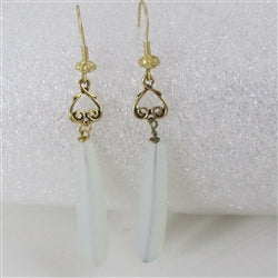 Buy frosted white sea glass teardrop earring on gold ear wires