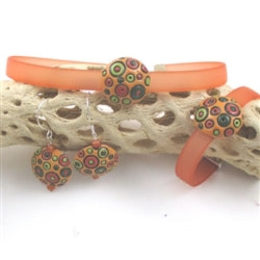 Orange jelly band PVC ribbon choker  & bracelet with handmade bubble accents & handmade circle earrings
