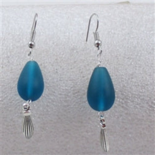 Buy turquoise sea glass teardrop earring with silver accent on hypo-allergenic  ear wires