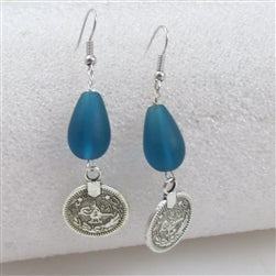 Buy frosted turquoise sea glass teardrop earring on hypo-allergenic  ear wires
