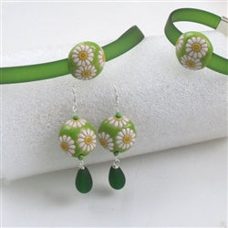 Bottle green PVC ribbon choker  & bracelet with handmade sun flower accent & sun flower earrings