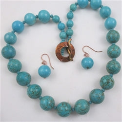 Buy affordable bold turquoise long beaded necklace & earrings