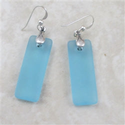 Buy light turquoisey sea glass sterling silver earring