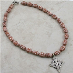 Terracotta handmade necklace made with beads from Africa