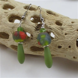 Buy olive sea glass teardrop & African fair trade bead  earring on hypo-allergenic  ear wires