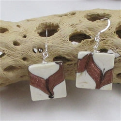Buy Handmade Cream Lampwork Drop Earrings Made in the USA