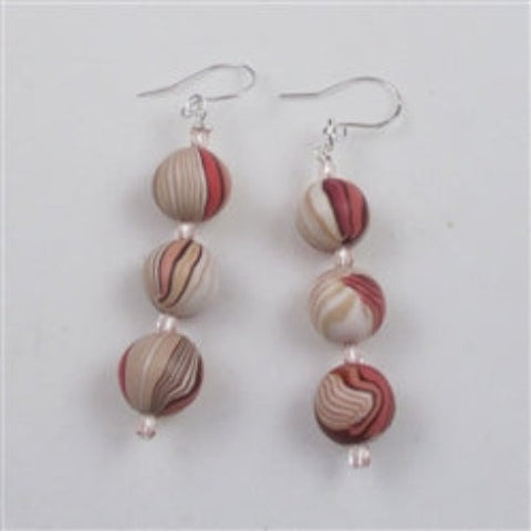 Pink & tan handmade artisan bead earrings