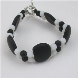 Buy double strand black & white sea glass bracelet