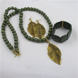 Buy unique green wooden bead designer set