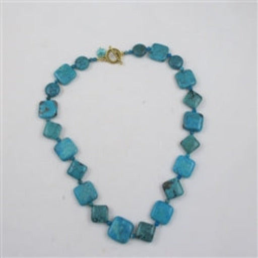 Turquoise squares & diamond bead necklace