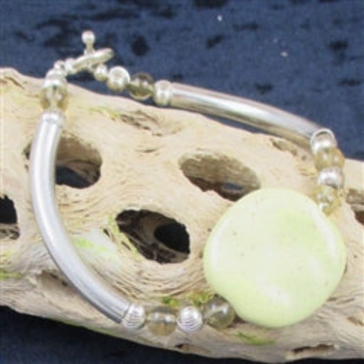 Yellow Kazuri Bangle Bracelet for a woman