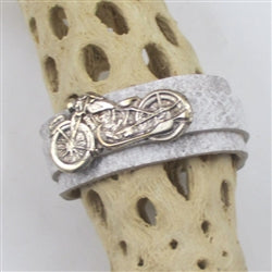 Unisex embossed white leather cuff bracelet with motorcycle accent