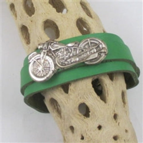 Unisex bright green leather cuff bracelet with motorcycle accent