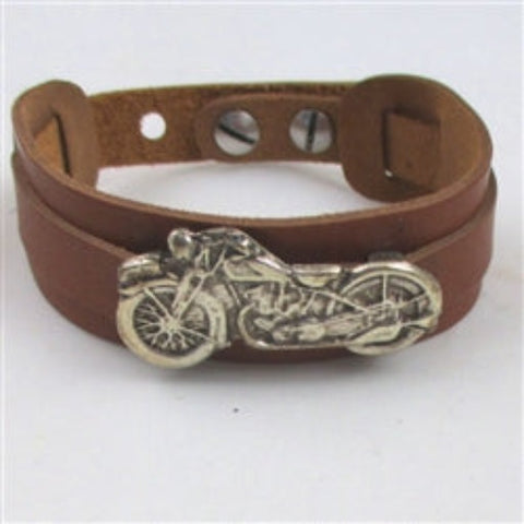 Unisex chestnut brown leather cuff bracelet with motorcycle accent