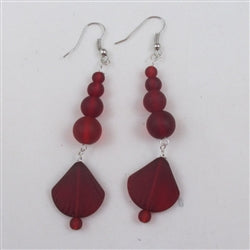 Buy ruby red  sea glass long drop earring on hypo-allergenic  ear wires