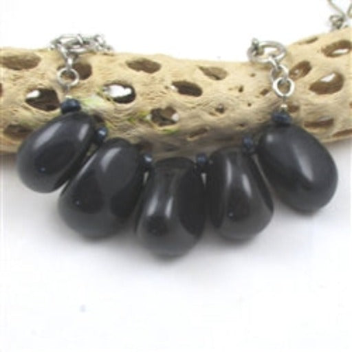 Navy blue statement fair trade tagua nut necklace