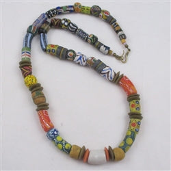 Long Multi-colored African Trade handmade bead necklace
