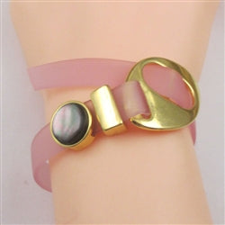 Classic ultra-lite pink jelly band bracelet with black pearl slide accent & gold buckle clasp