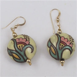 Buy handmade cream & pink designer earrings