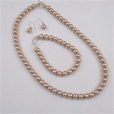 Cream pearl necklace, earring & bracelet