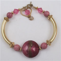 Artisan handmade bead in pink & gold bangle bracelet