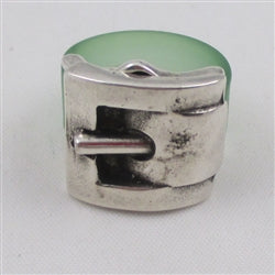 Delightful fun buckle ring in green & silver