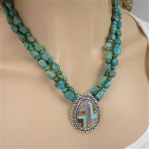 Double strand  turquoise nugget necklace with pendant