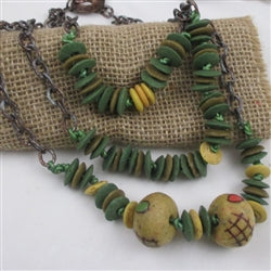 African trade glass bead handmade  necklace made with dark yellow , olive green & brown beads from Ghana