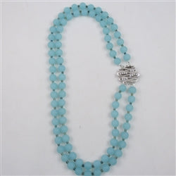 Aqua frosted sea glass double strand necklace