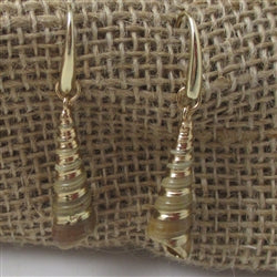 Buy natural shell earrings trimmed in gold