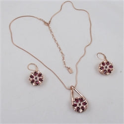 Designer's choice rose gold & pink rhinestone pendant necklace & matching earrings