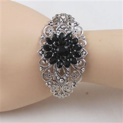 Buy silver with black flower accent cuff bangle bracelet