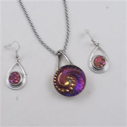Designer's choice silver &pink crystal pendant necklace & earrings