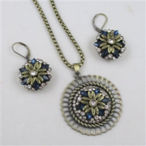 Designer's choice antique gold, blue crystal & rhinestone pendant necklace & matching earrings