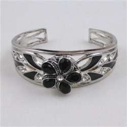 Buy black &  silver with black flower accent cuff bangle bracelet