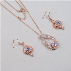Designer's choice rose gold & blue rhinestone pendant necklace & matching earrings