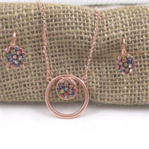 Designer's choice rose gold & multi-colored multi-stoned rhinestones pendant necklace & matching earrings