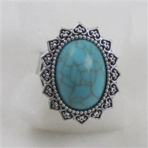 Delightful fun big turquoise ring