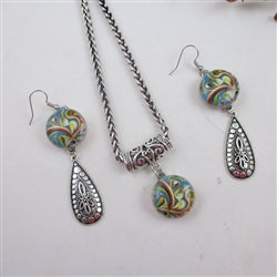 Designer's choice multi-colored swirled pendant necklace & earrings