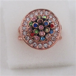 Delightful rhinestone Floral motif rose gold fashion ring