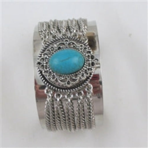 Buy silver  cuff wide bracelet with large turquoise gemstone accent