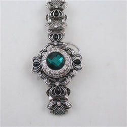 Buy exquisite emerald green crystal & rhinestone  party bracelet