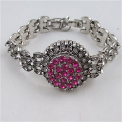 Buy exquisite bright pink crystal & rhinestone  party bracelet
