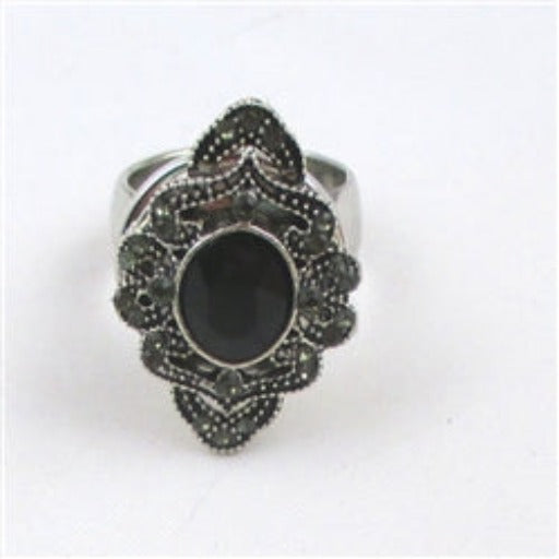 Delightful fun black rhinestone ring