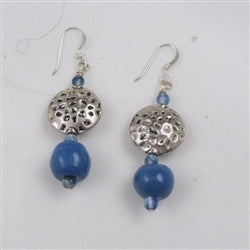 Blue Fair Trade Kazuri Earrings in a classic style