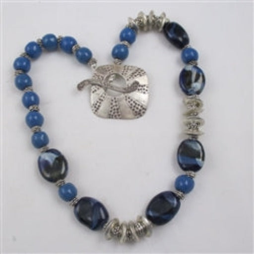 Handmade fair trade bead kazuri neck wear in a rick royal blue